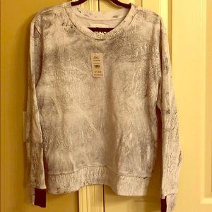 Gray and white distressed AIKO sweatshirt. NWT.